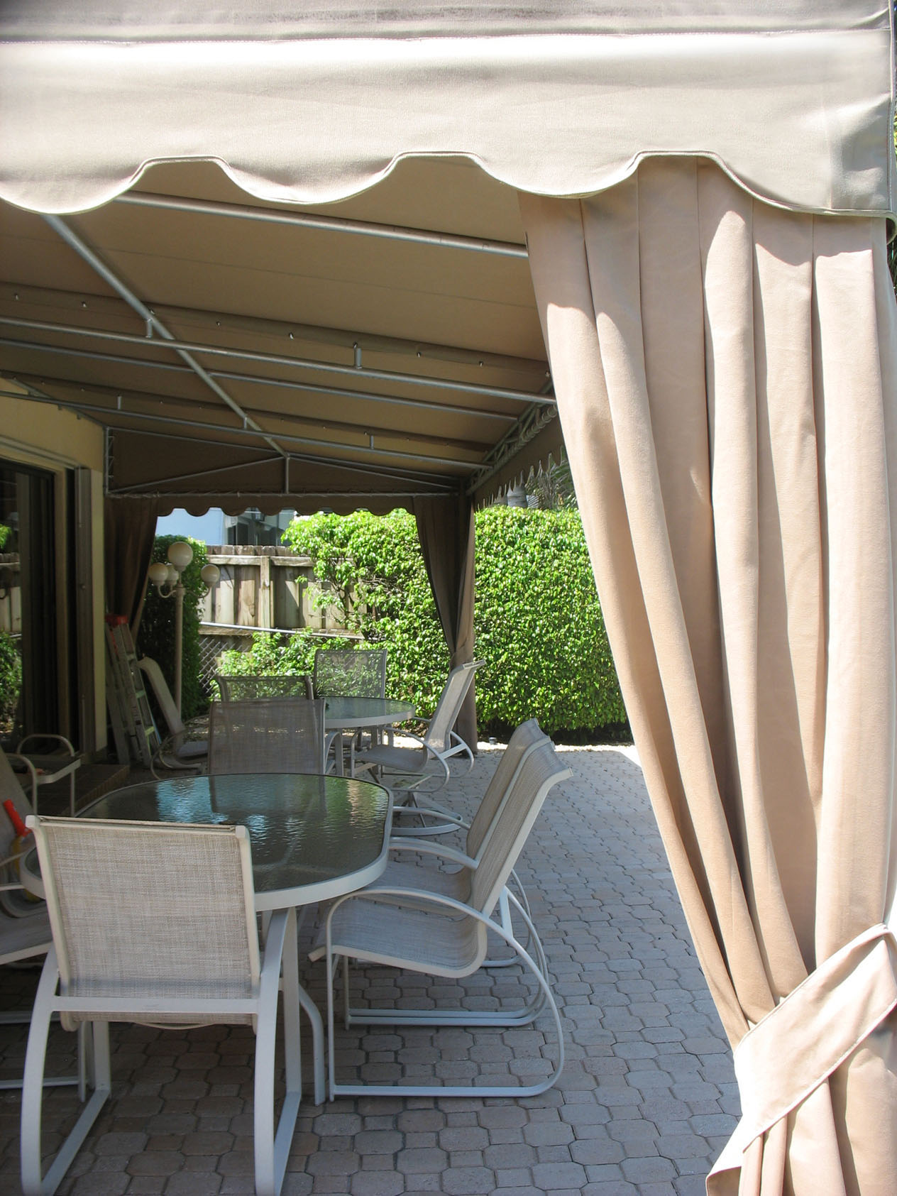 Lean-To Patio Awning with Curtains | LLOYDTON AWNINGS